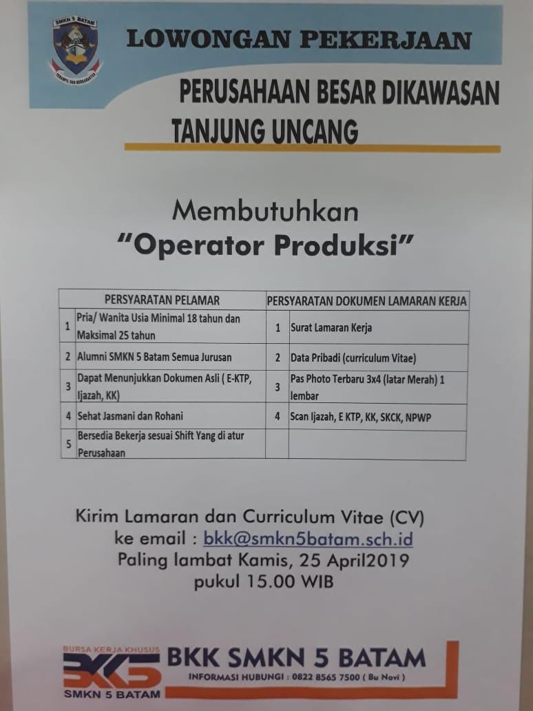 Loker Perusahana Besar Di Kawasan Tanjung Uncang Untuk Alumni Smkn